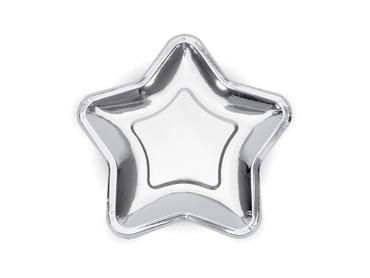 6 Papp-Teller Stern silber