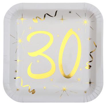 10 Papp-Teller Geburtstag 30 weiß-gold