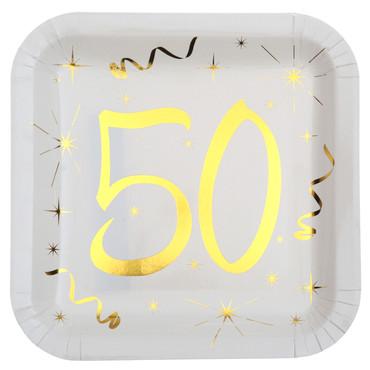 10 Papp-Teller Geburtstag 50 weiß-gold