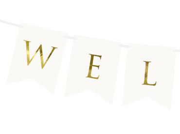 """Wimpelkette """"Welcome"""" Willkommen weiß-gold – Bild 2"""