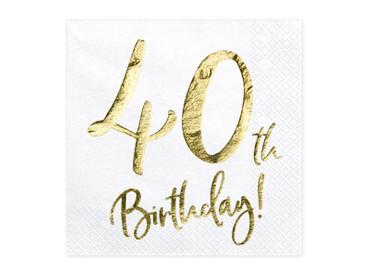 20 Servietten Geburtstag 40 weiß-gold – Bild 1