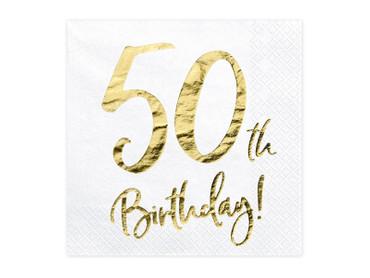 20 Servietten Geburtstag 50 weiß-gold – Bild 1