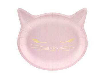 6 Papp-Teller Katze rosa – Bild 1