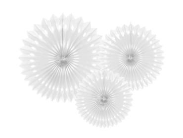 3 Seidenpapier-Fächer weiß