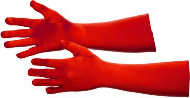 Satin-Handschuhe lang rot – Bild 1