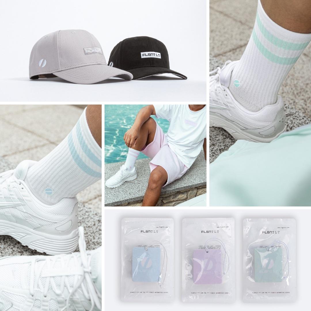 Flgntlt Summer Essentials SS20 Cap Air Freshener Socks Neo Mint Sky Blue Lavender
