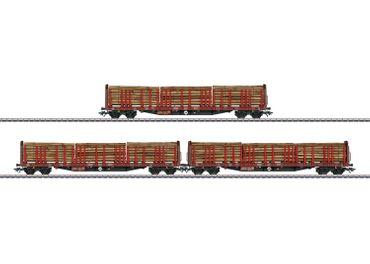 47047 Drei Rungenwagen Roos 639