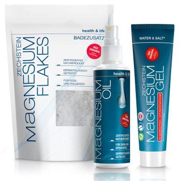 Zechstein Magnesium 3er-Set, Magnesium-Gel, Magnesium-Oil, Magnesium-Flakes – Bild 1