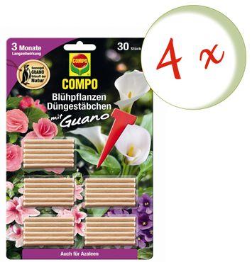 Sparset: 4 x COMPO Blühpflanzen Düngestäbchen mit Guano, 30 Stück