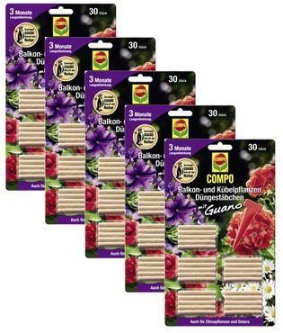 Sparset: 5 x COMPO Balkon- und Kübelpflanzen Düngestäbchen mit Guano, 30 Stück