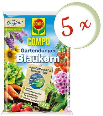 Sparset: 5 x COMPO Gartendünger Blaukorn® NovaTec®, 7,5 kg