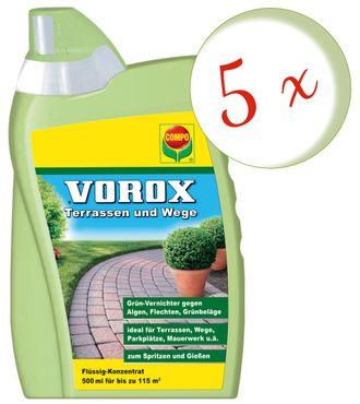 Sparset: 5 x COMPO Vorox® Terrassen und Wege, 500 ml
