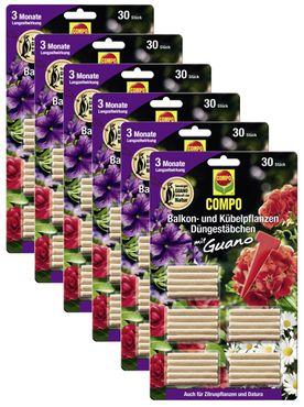 Sparset: 6 x COMPO Balkon- und Kübelpflanzen Düngestäbchen mit Guano, 30 Stück
