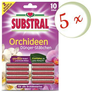 Sparset: 5 x SCOTTS Substral® Dünger-Stäbchen für Orchideen, 10 Stück