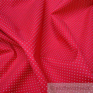 Baumwolle Leinwand Punkte ganz klein rot weiß