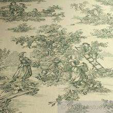 Baumwolle Leinwand Toile de Jouy ländlich elfenbein grün breit