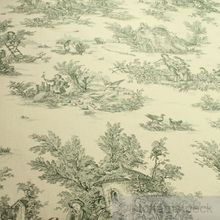 Baumwolle Leinwand Toile de Jouy ländlich elfenbein grün
