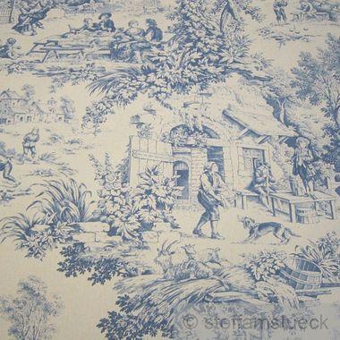 Baumwolle Rips Toile de Jouy Dorfcharakter beige blau
