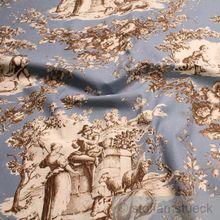 Baumwolle Rips Toile de Jouy Rosen himmelblau braun