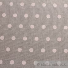Baumwolle / Acryl Leinwand Punkte klein hellgrau weiß