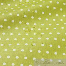 Baumwolle / Acryl Leinwand Punkte klein kiwi weiß