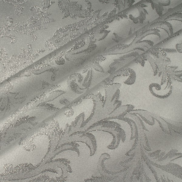 stoff polyester jacquard ornament weiss silber lurex