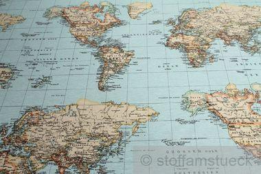 Baumwolle / Polyester Leinwand Weltkarte