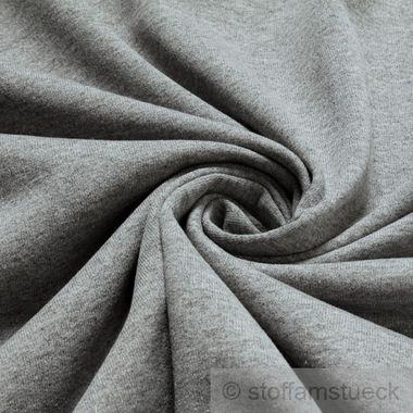 Baumwolle / Polyester Single Jersey hellgrau angeraut