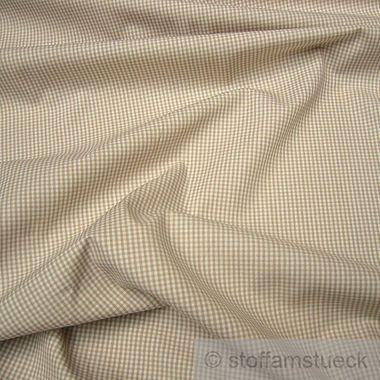 Baumwolle Leinwand Vichy Karo klein beige weiß