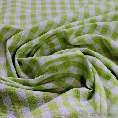 Baumwolle Leinwand Bauernkaro hellgrün weiß