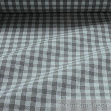 Baumwolle Leinwand Bauernkaro grau weiß