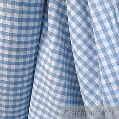 Baumwolle Leinwand Bauernkaro hellblau weiß