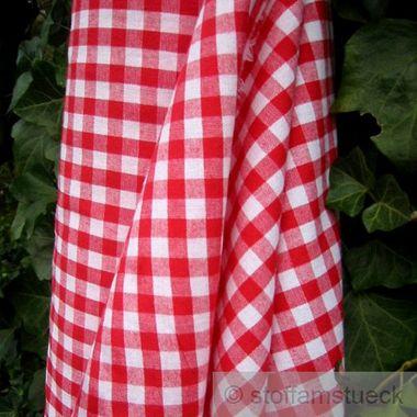 Baumwolle Leinwand Bauernkaro rot weiß