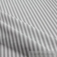 Baumwolle Leinwand Bauernstreifen grau weiß
