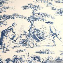 Baumwolle Rips Toile de Jouy Rosen ecru blau breit