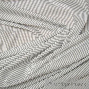 Baumwolle Leinwand Römerstreifen hellgrau weiß