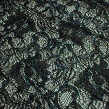 Polyamid / Polyester / Elastan Spitze schwarz Blume Schimmer petrol