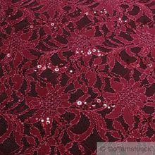 Polyamid / Polyester / Elastan Spitze bordeaux Blume Pailletten