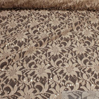 Polyamid / Polyester / Elastan Spitze beige Blume Pailletten