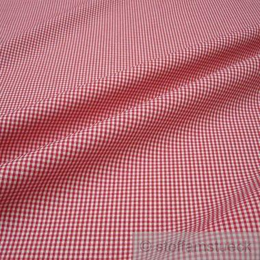 Baumwolle Leinwand Vichy Karo klein rot weiß