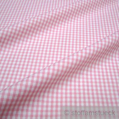 Baumwolle Leinwand Vichy Karo rosa weiß