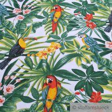 Baumwolle Leinwand weiß Dschungel Papagei breit