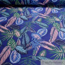 Baumwolle / Polyester Leinwand kobaltblau Dschungel