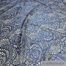 Polyamid / Polyester / Elastan Spitze schwarz Blume kobaltblau