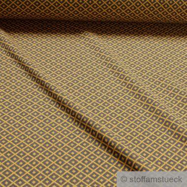 Recycelt Baumwolle / Polyester / Elastan Jacquard Jersey Raute grau ocker