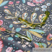 Baumwolle / Acryl Leinwand schwarz Blume Dschungel