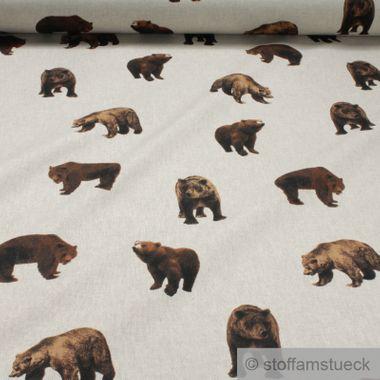 Baumwolle / Polyester Rips natur Bär