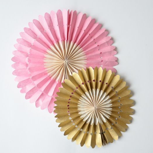 2er Set Papierrosetten in Rosa/Gold