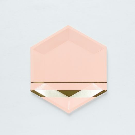 Pappteller in Blush/Gold