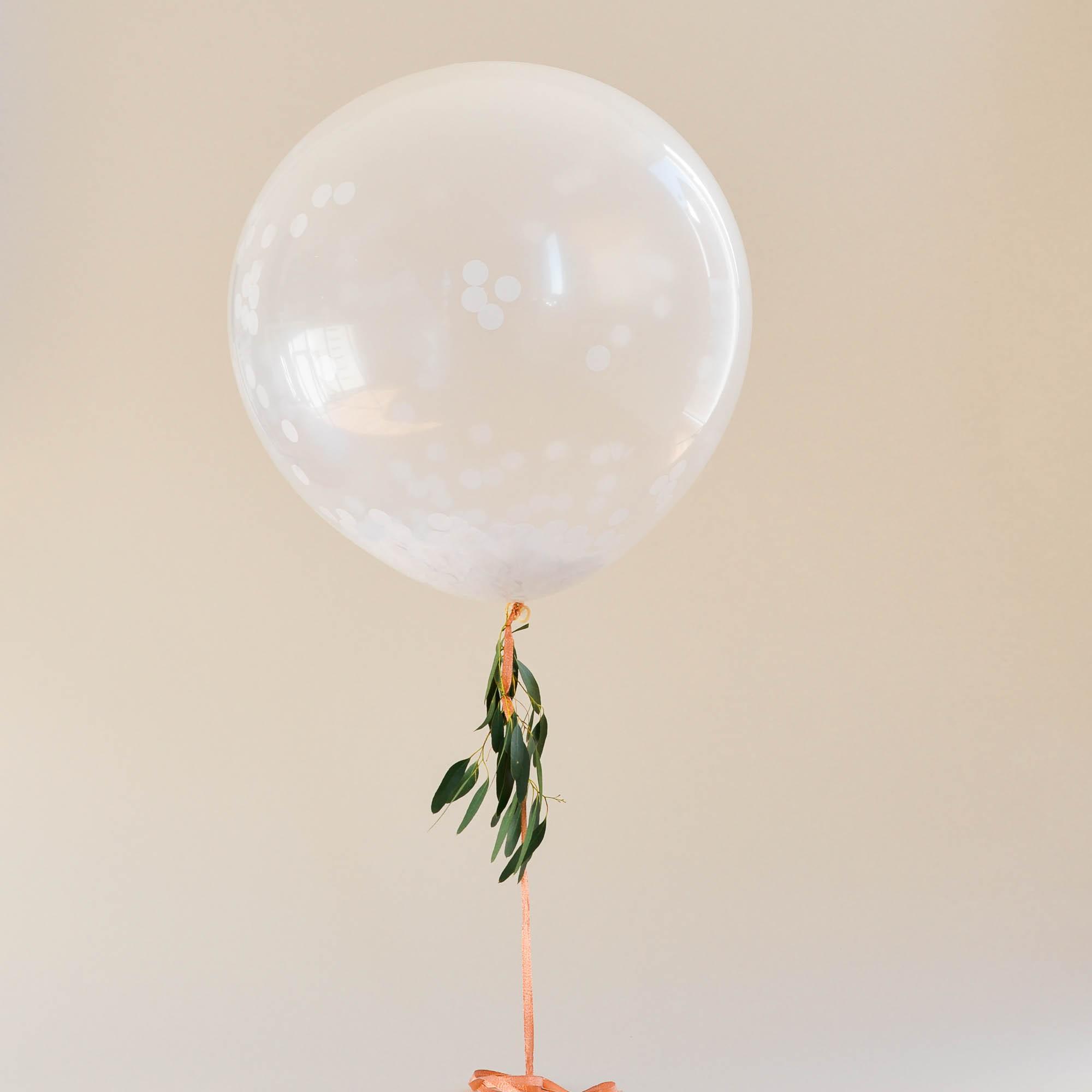 3er Set weiße Konfetti-Ballons